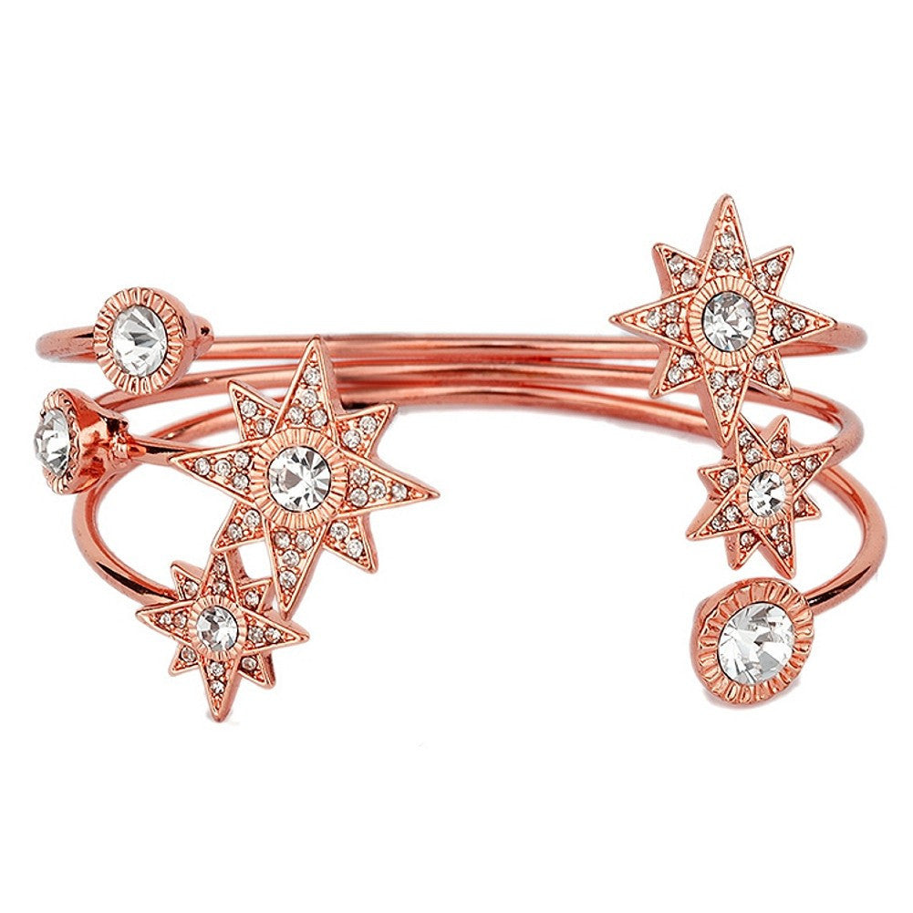 Celestial Stars Bridal or Prom Crystal Cuff Bracelet in Rose Gold - Sophie's Favors and Gifts