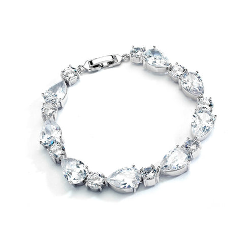 CZ Pears and Rounds Bridal or Bridesmaids Bracelet - Sophie's Favors and Gifts