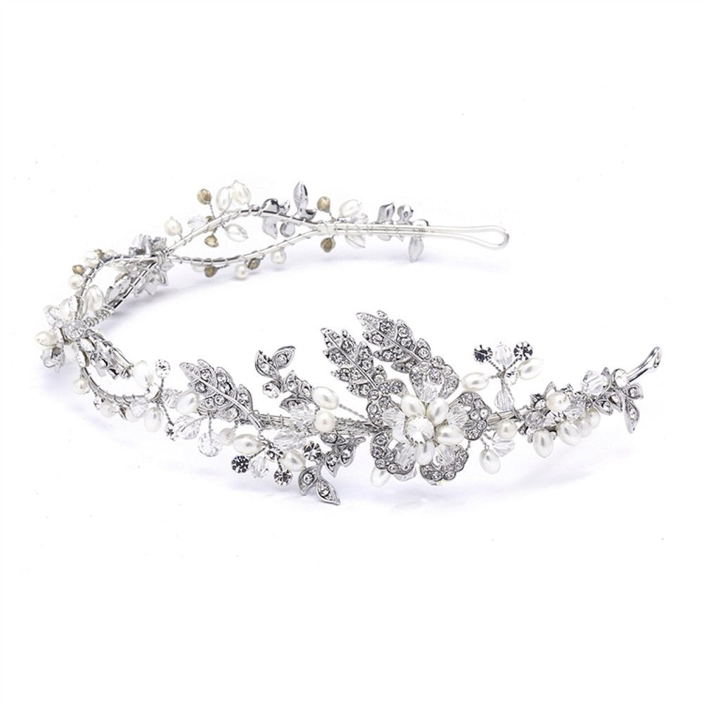 Wavy Bridal Headband with Crystal and Pearl Garden - Sophie's Favors and Gifts