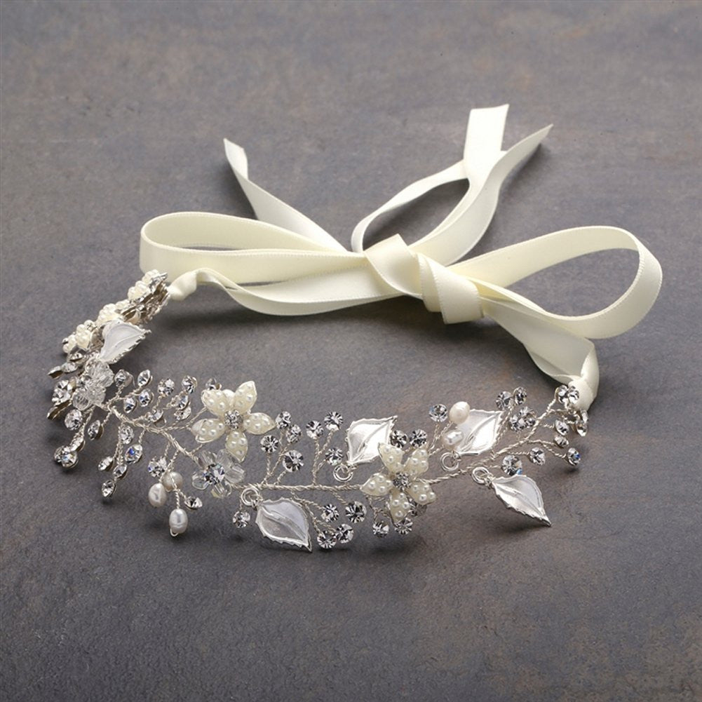 Designer Bridal Ribbon Headband with Hand Painted Silver Leaves, leaves headband, leaf headband, bridal headband, silver headband, Wedding Hair Accessories