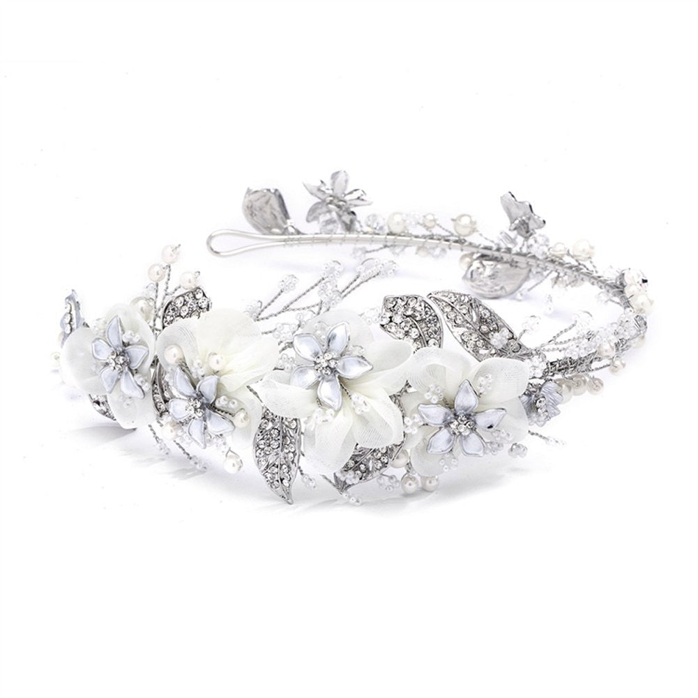 Enchanting Side Design Bridal Tiara Headband with Organza - Sophie's Favors and Gifts