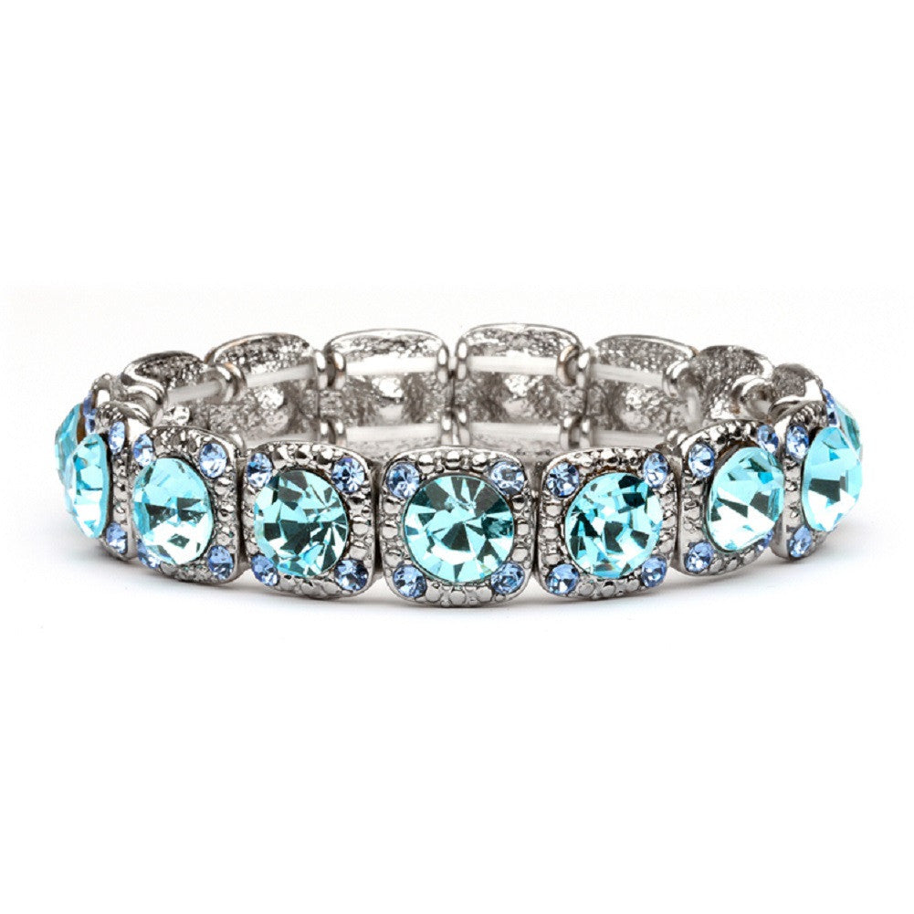 Bridesmaid or Prom Stretch Bracelet with Aqua Crystals - Sophie's Favors and Gifts