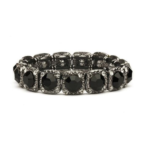 Bridesmaid or Prom Stretch Bracelet with Jet Black Crystals - Sophie's Favors and Gifts