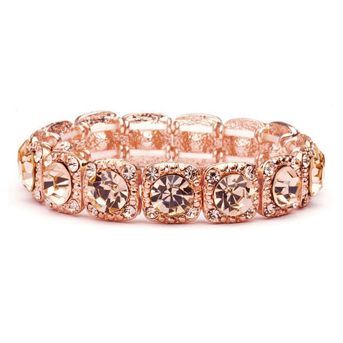 Rose-Gold Coral Color Bridal or Prom Stretch Bracelet with Crystals - Sophie's Favors and Gifts