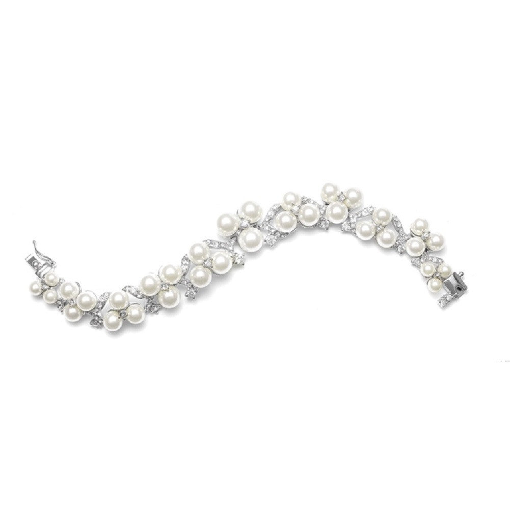 Graduated Pearl Trios Bridal Bracelet - Sophie's Favors and Gifts