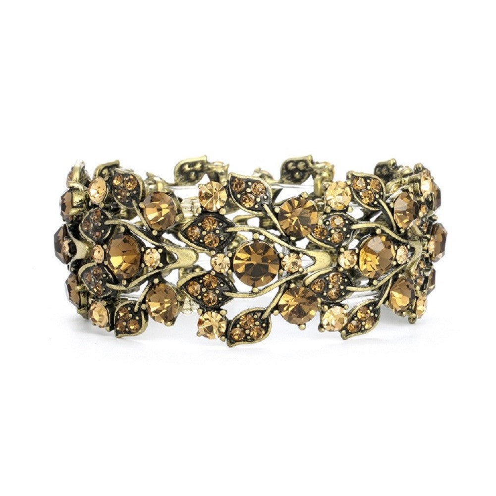 Bold Brown Crystal Vine Stretch Bracelet - Sophie's Favors and Gifts