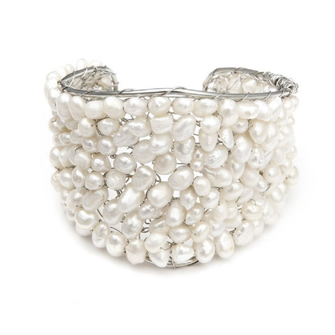 Exotic Freshwater Pearl Bridal Cuff Bracelet - Sophie's Favors and Gifts