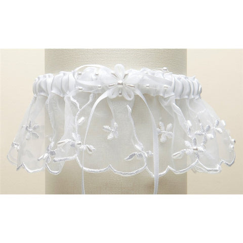 Embroidered Wedding Garter with Rice Pearl Accents - White - Sophie's Favors and Gifts