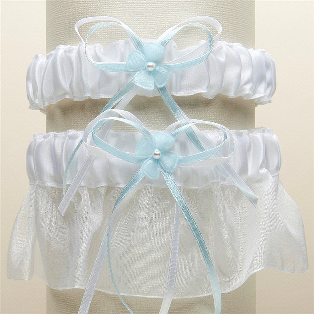 Sleek Satin and Organza 2 Pc. Bridal Garter Set - White with Blue - Sophie's Favors and Gifts