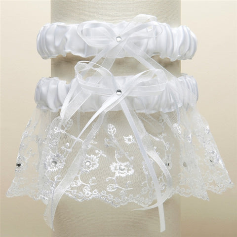 Embroidered Wedding Garter Set with Scattered Crystals - White - Sophie's Favors and Gifts