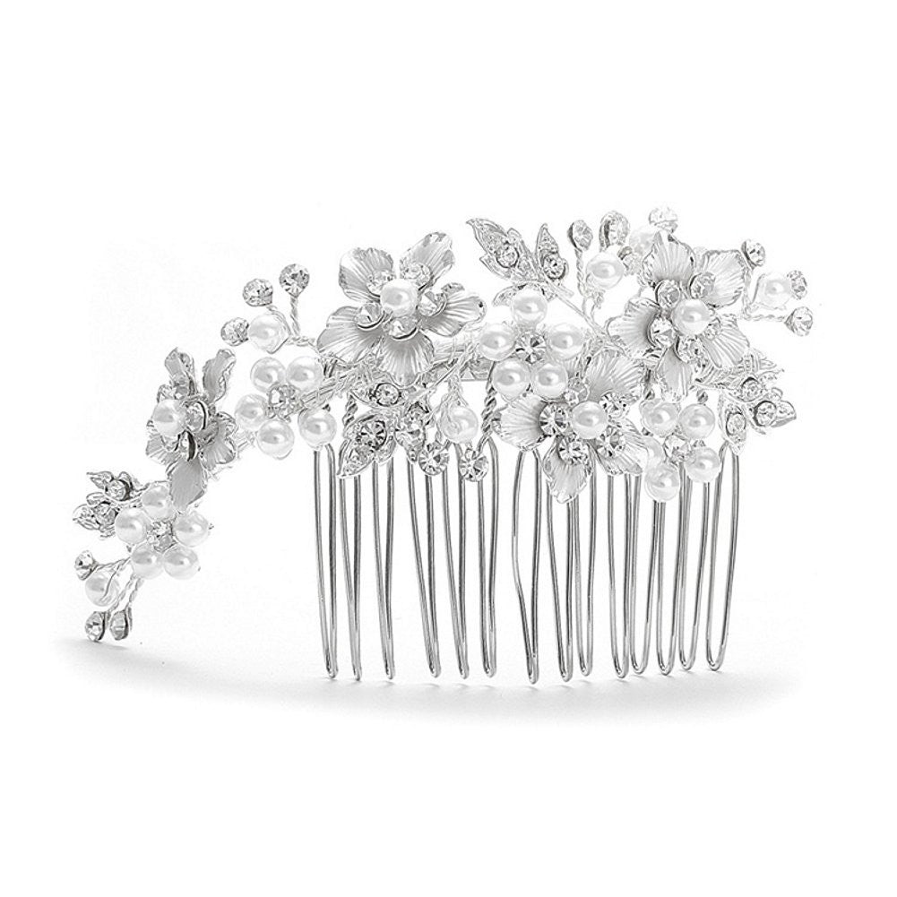 Brushed Silver and White Pearl Wedding Comb - Sophie's Favors and Gifts