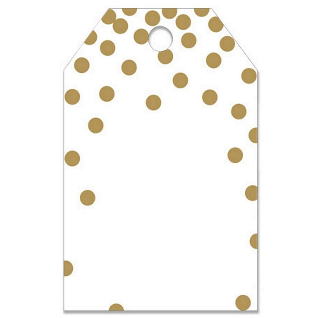 Metallic Gold Polka Dots Gift Tags - 2 1/4in. x 3 1/2in. - 50 Pack - Sophie's Favors and Gifts