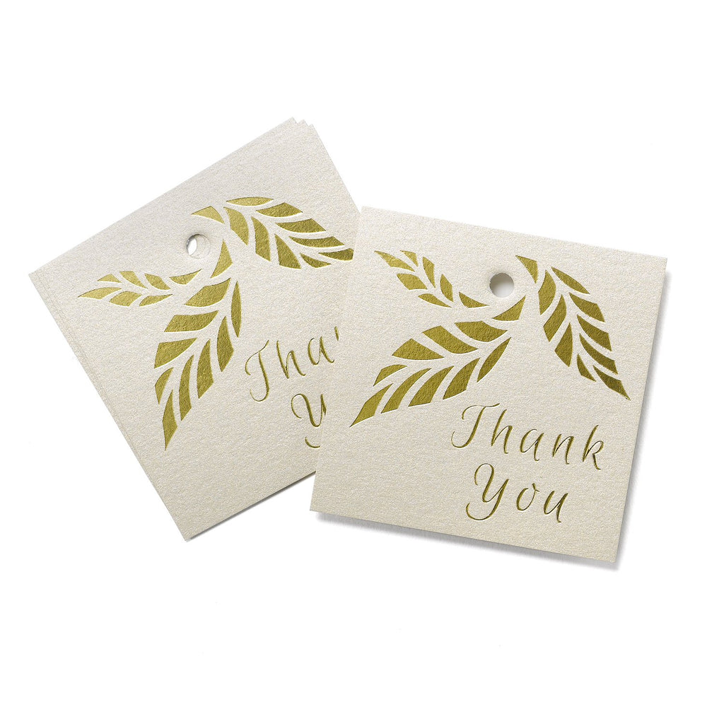 Gold Stamped Organic Leaves Favor Tags - 2 1/2in. x 2 1/2in. - 25 Pack - Sophie's Favors and Gifts