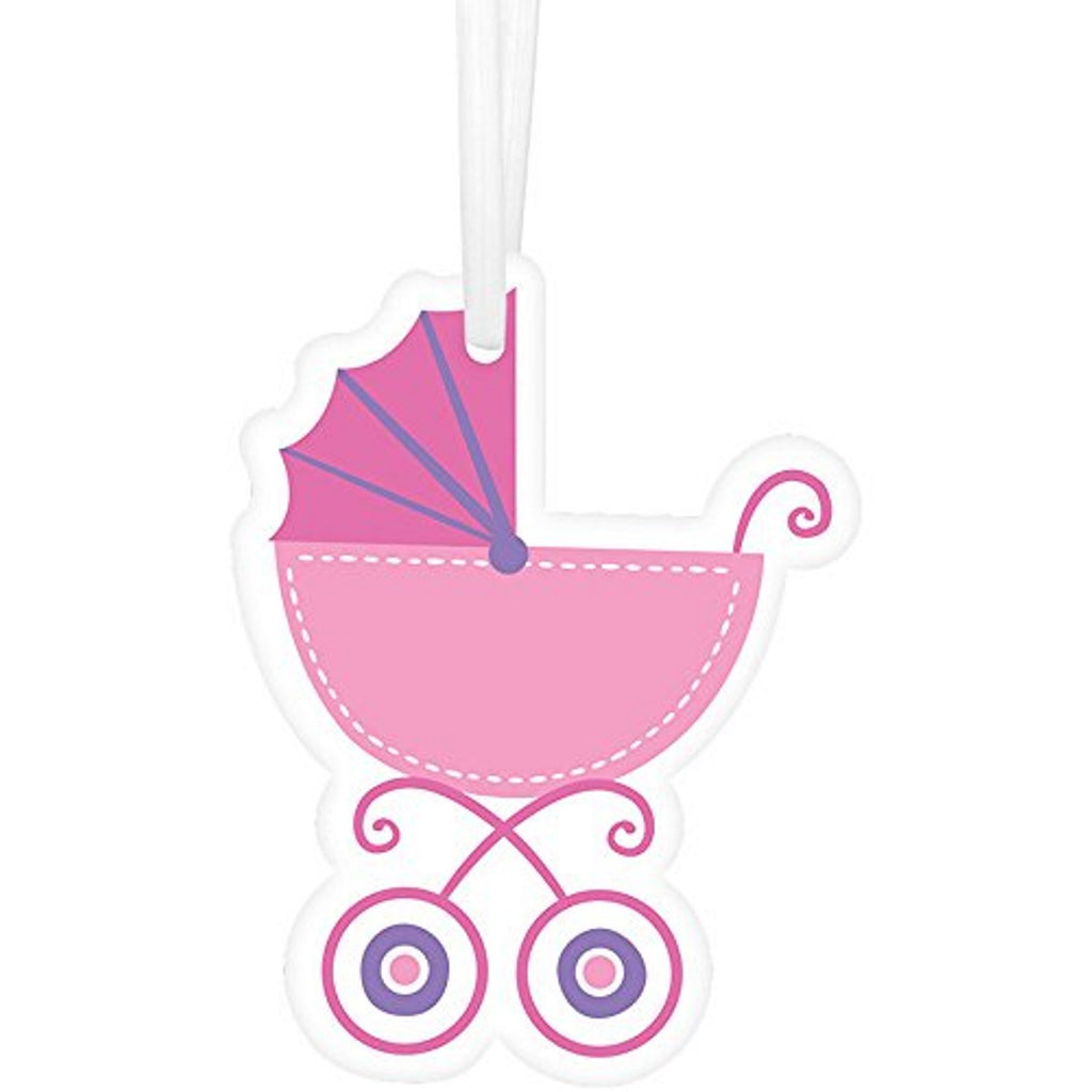 Pink Baby Carriage Die Cut Hang Tags With White Twist Ties - 2in. x 2 1/2in. - 25 Pack - Sophie's Favors and Gifts
