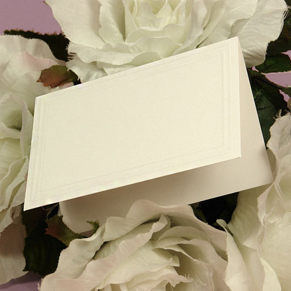 Blank Embossed White Tent Cards - 3 1/2in. x 2 1/4in. - 500 Pack - Sophie's Favors and Gifts