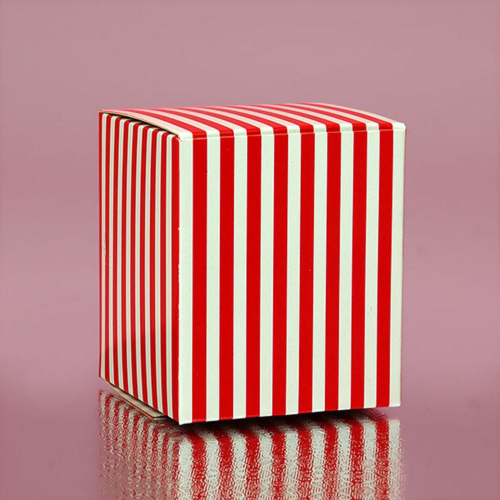Red Striped Cube Tuck Top Boxes (2in. X 2in. X 2in., 12/pack), red and white favor boxes, red striped boxes, holiday favor boxes, red gift boxes, Favor Boxes
