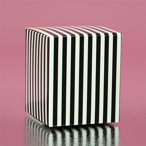 Black Striped Cube Tuck Top Boxes (2in. X 2in. X 2in., 12/pack), black and white favor boxes, black striped boxes, black white theme, black white candy boxes, Favor Boxes