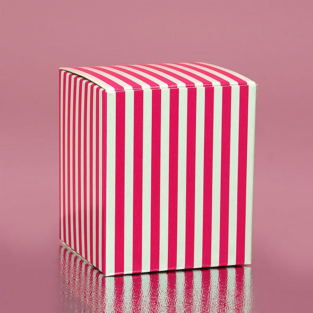 Hot Pink Striped Cube Tuck Top Boxes (2in. X 2in. X 2in., 12/pack), pink and white favor boxes, pink striped boxes, bridal shower favor boxes, sweet sixteen favor boxes, Favor Boxes