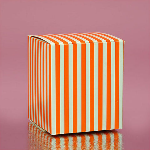 Orange Striped Cube Tuck Top Boxes (2in. X 2in. X 2in., 12/pack), orange and white favor boxes, orange striped boxes, orange theme, orange candy boxes, Favor Boxes