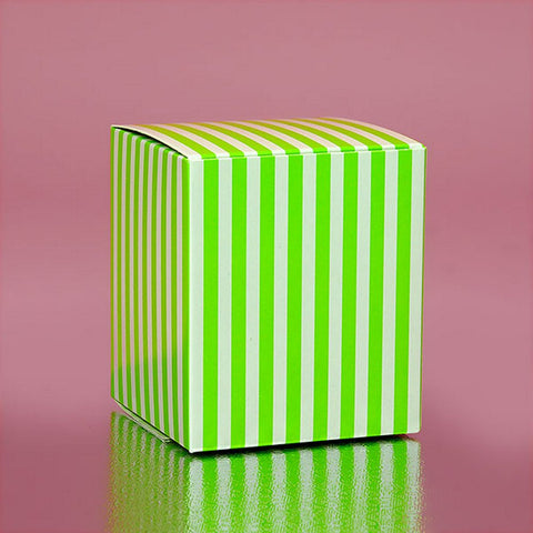 Green Striped Cube Tuck Top Boxes (2in. X 2in. X 2in., 12/pack), green and white favor boxes, green striped boxes, lime green theme, green cube boxes, Favor Boxes