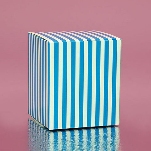 Blue Striped Cube Tuck Top Boxes (2in. X 2in. X 2in., 12/pack), blue and white favor boxes, blue striped boxes, blue theme, blue candy boxes, Favor Boxes