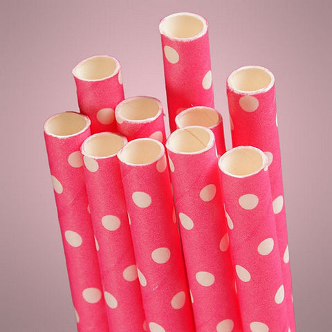 Hot Pink Polka Dot Paper Straws (Pack of 10) - Sophie's Favors and Gifts