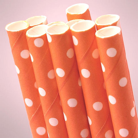 Orange Polka Dot Paper Straws (Pack of 10), orange straws, orange disposable straws, orange party decorations, orange theme, Table Decorations & Centerpieces