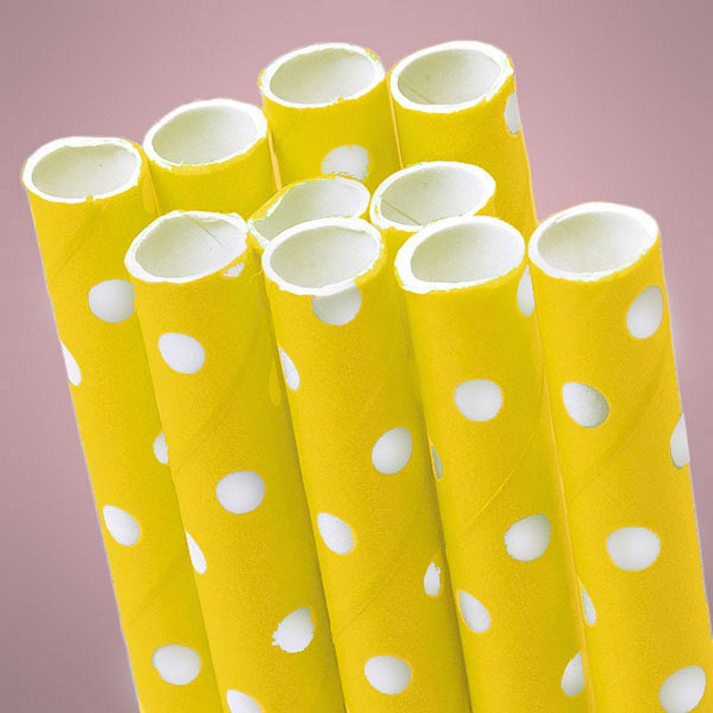 Yellow Polka Dot Paper Straws (Pack of 10), yellow straws, yellow disposable straws, yellow party decorations, baby shower decorations, Table Decorations & Centerpieces