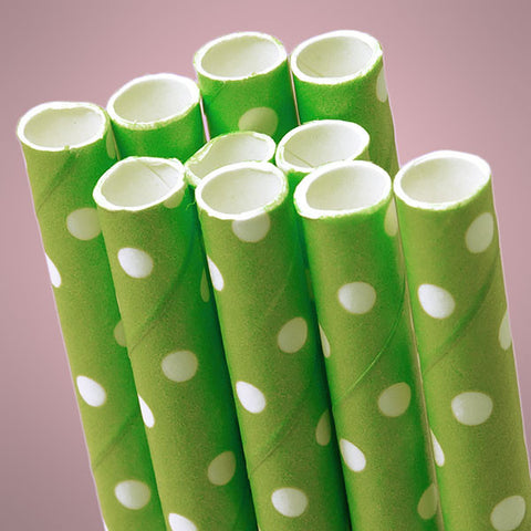 Green Polka Dot Paper Straws (Pack of 10) - Sophie's Favors and Gifts