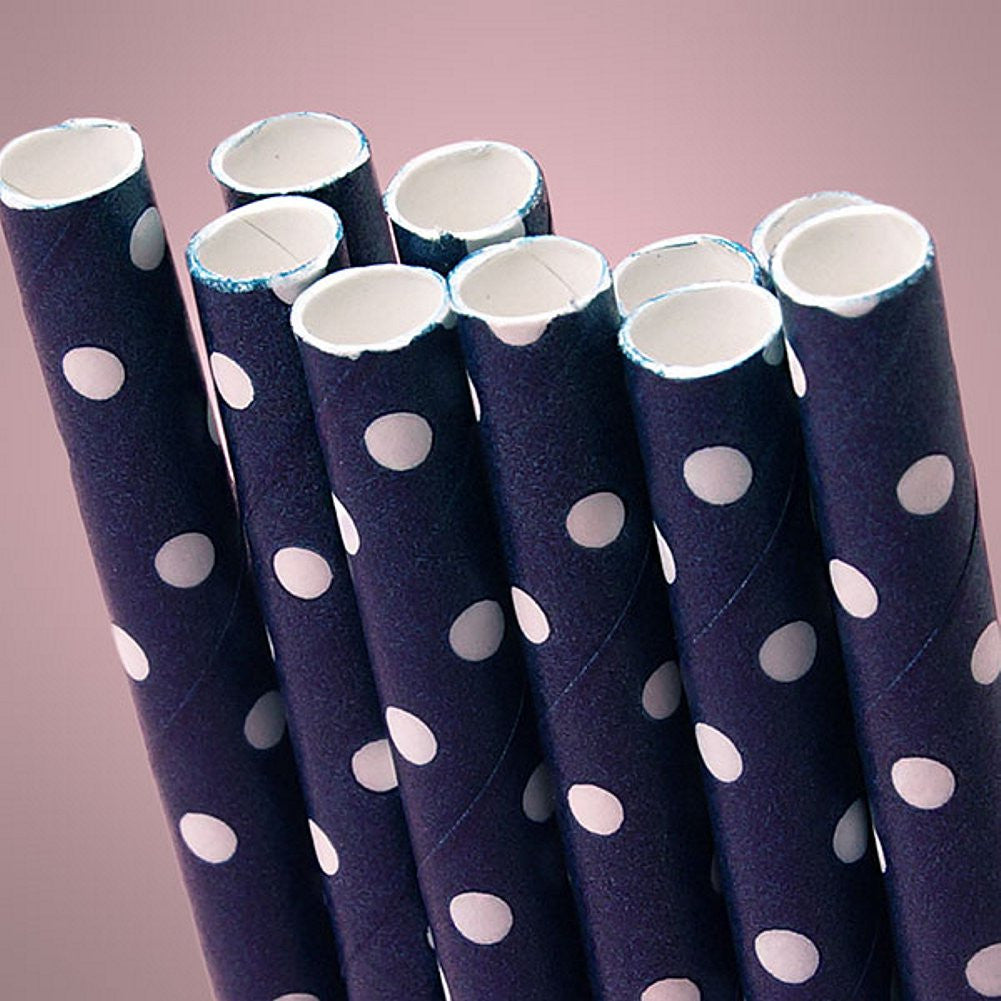 Navy Blue Polka Dot Paper Straws (Pack of 10) - Sophie's Favors and Gifts