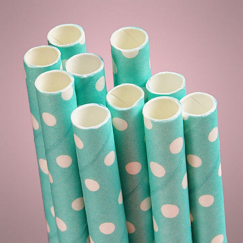 Aqua Polka Dot Paper Straws (Pack of 10) - Sophie's Favors and Gifts