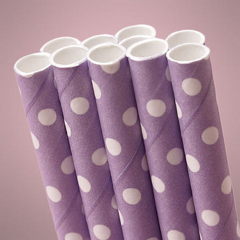 Lavender Polka Dot Paper Straws (Pack of 10) - Sophie's Favors and Gifts