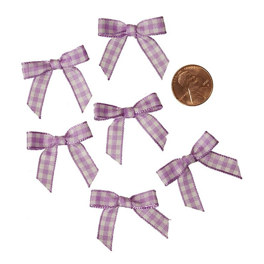 Purple and White Pre-Tied Tiny Gingham Checkered Bows - 1 3/16in. x 1 1/4in. - 25 Pack - Sophie's Favors and Gifts