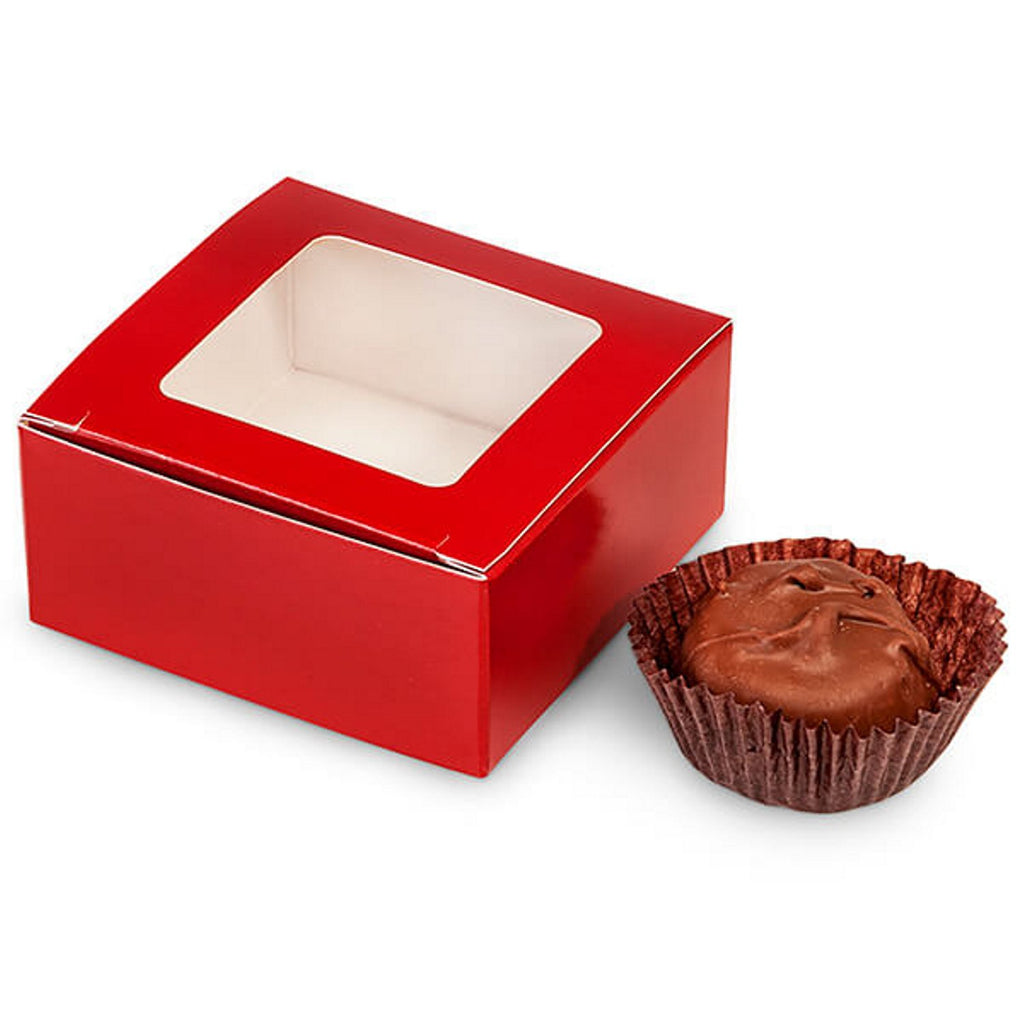 "Red 4-Piece Truffle Candy Boxes - 2 5/8"" x 2 3/4"" x 1 1/4"" - 25 Pack - Sophie's Favors and Gifts"