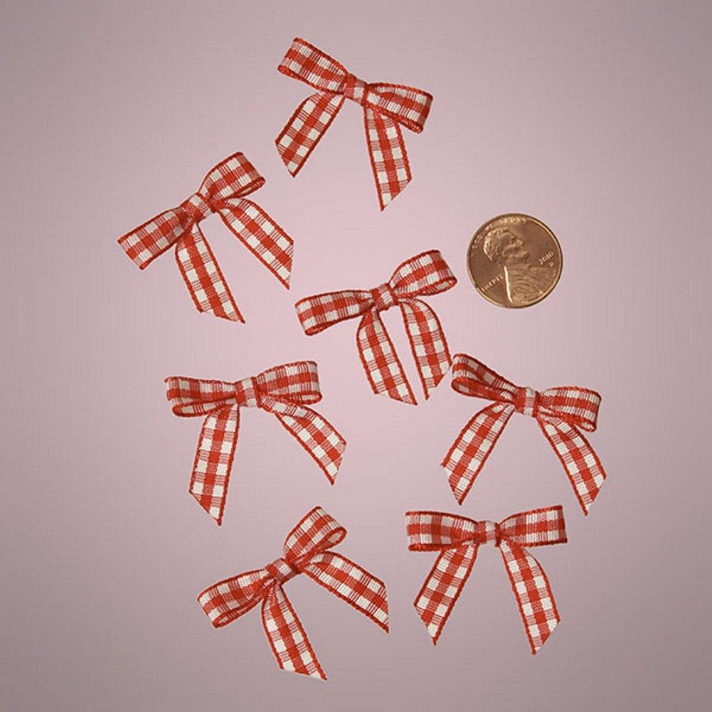 Red and White Pre-Tied Tiny Gingham Checkered Bows - 1 3/16in. x 1 1/4in. - 25 Pack - Sophie's Favors and Gifts