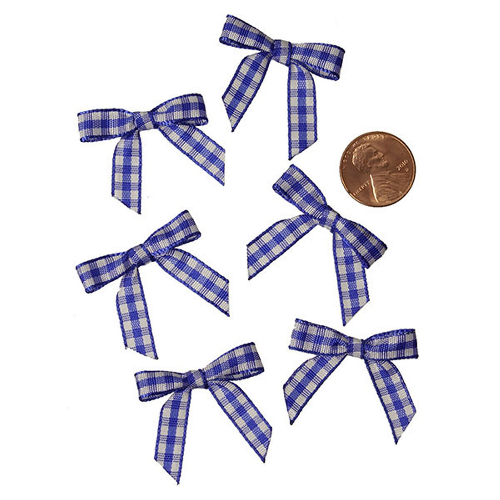 Royal Blue and White Pre-Tied Tiny Gingham Checkered Bows - 1 3/16in. x 1 1/4in. - 25 Pack - Sophie's Favors and Gifts