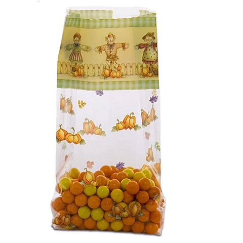 Scarecrows and Pumpkins Cello Bags - 7.5in. x 3.5in. x 2in. - 20 Pack - Sophie's Favors and Gifts