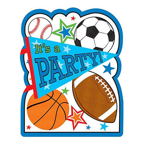 Sports Party Invitations With Envelopes - 8 Pack - Sophie's Favors and Gifts