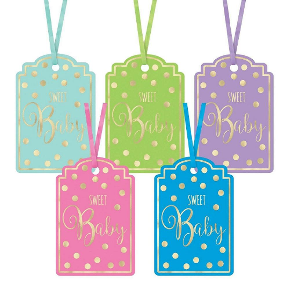 Hot Stamped Sweet Baby Hanging Gift Tags With Ribbons - Assorted Colors - 25 Pack - Sophie's Favors and Gifts