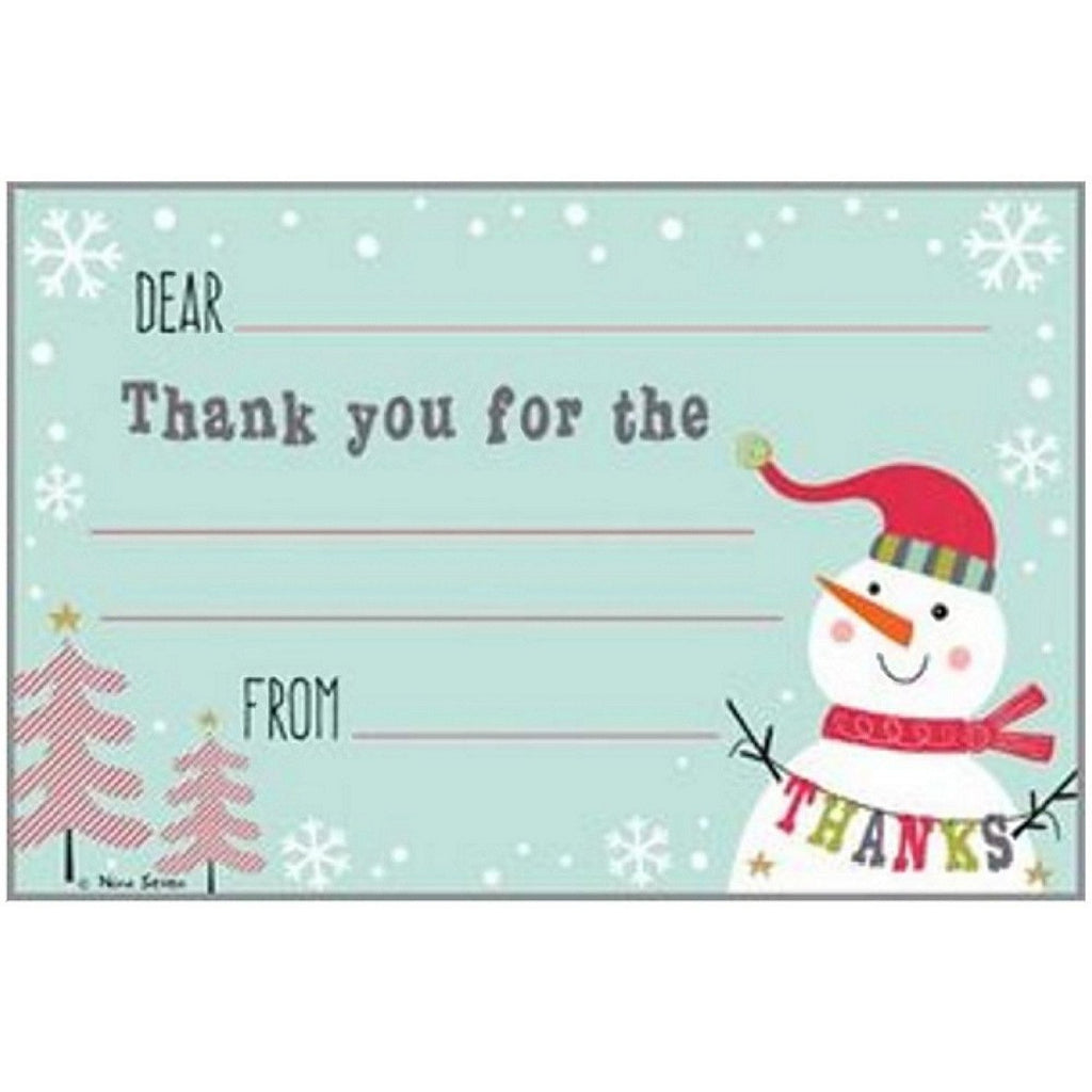 Thankful Snowman Kid's Christmas Thank You Postcards - Sophie's Favors and Gifts