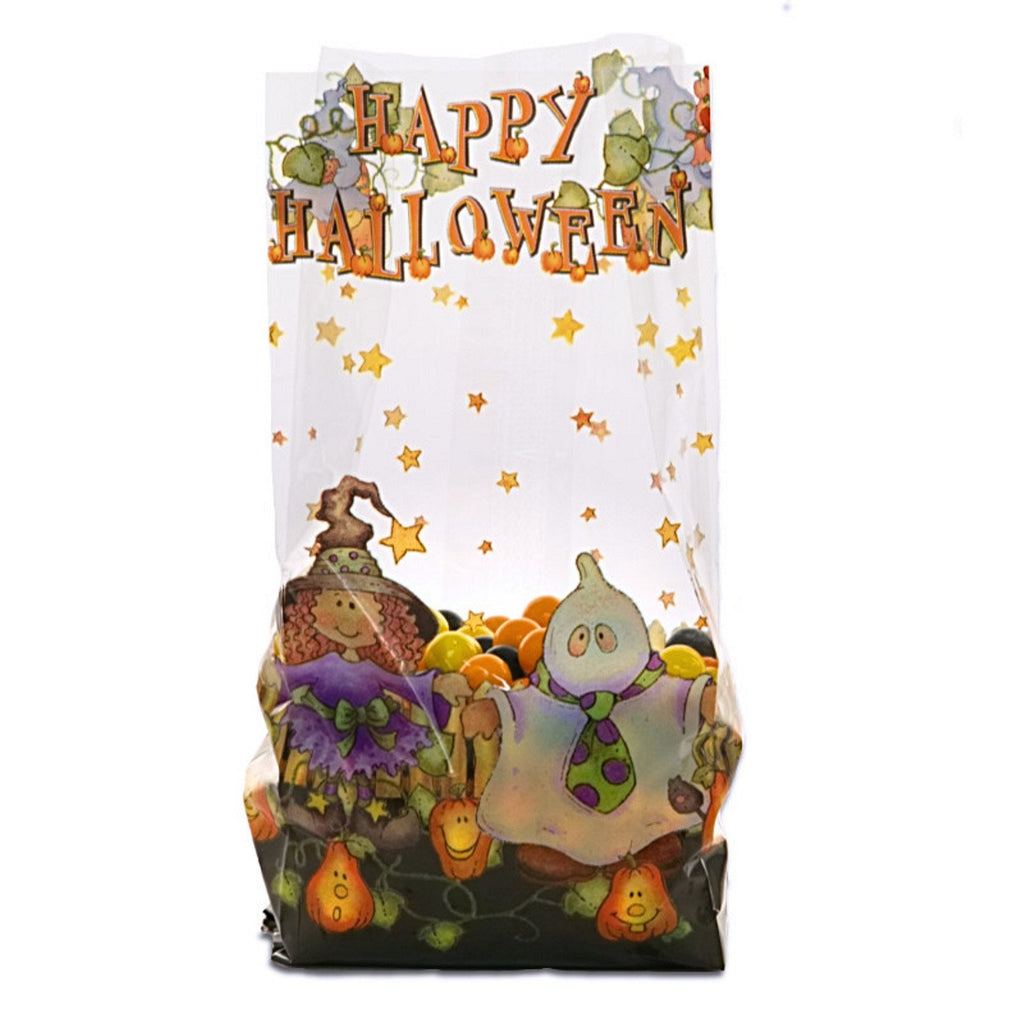 Trick Or Treat Clear Cello Party Bags - 7 1/2in. x 3 1/2in. x 2in. - 20 Pack - Sophie's Favors and Gifts
