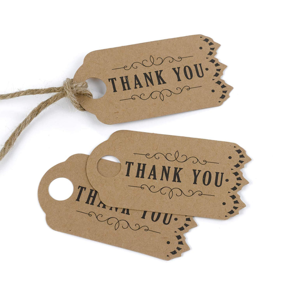 Vintage Kraft Thank You Favor Tags - 3 1/4in. x 1 3/4in. - 25 Pack - Sophie's Favors and Gifts
