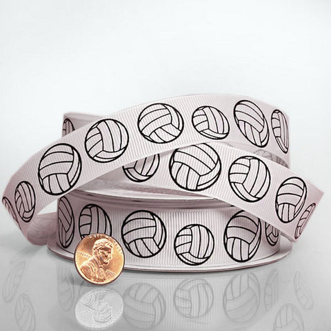 Volleyball Grosgrain Ribbon - 7/8in. Width - 10 Yard Spool - Sophie's Favors and Gifts