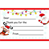 Waving Santa & Reindeer Kid's Christmas Thank You Postcards - Sophie's Favors and Gifts