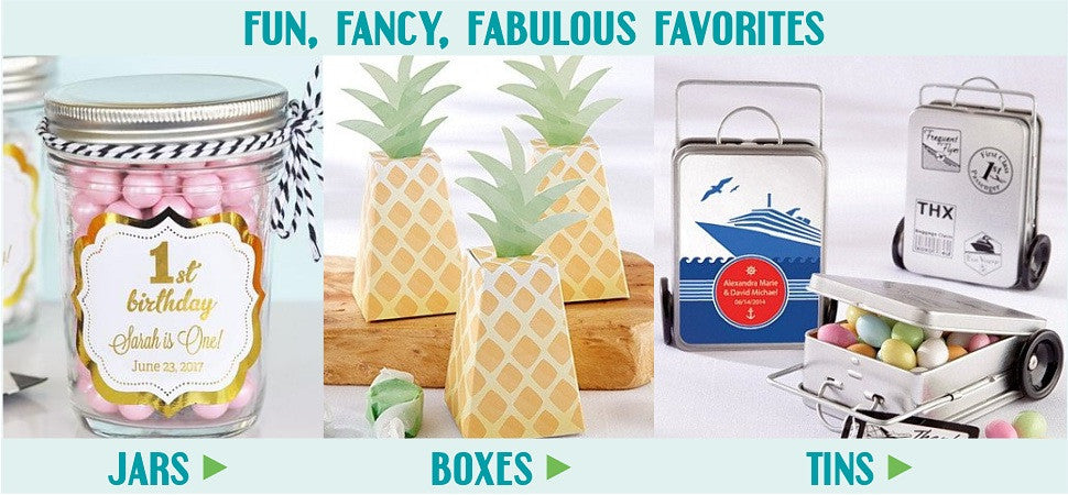 Unique Favor Boxes, Favor Tins and Jars