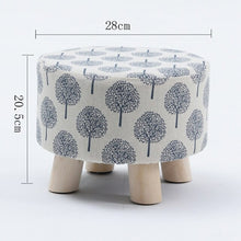 Load image into Gallery viewer, Small Round Fabric Wooden Stool