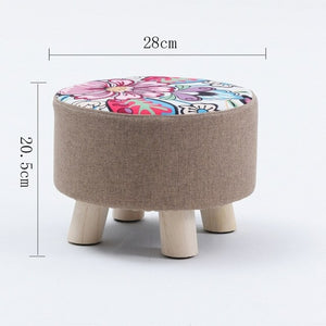 Small Round Fabric Wooden Stool