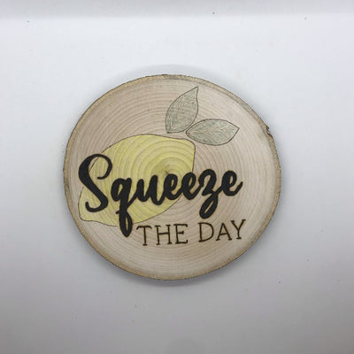Squeeze the Day Lemon Kitchen Sign.  Wood burned sign with a yellow colored lemon behind the words.  Cute farmhouse kitchen gift.