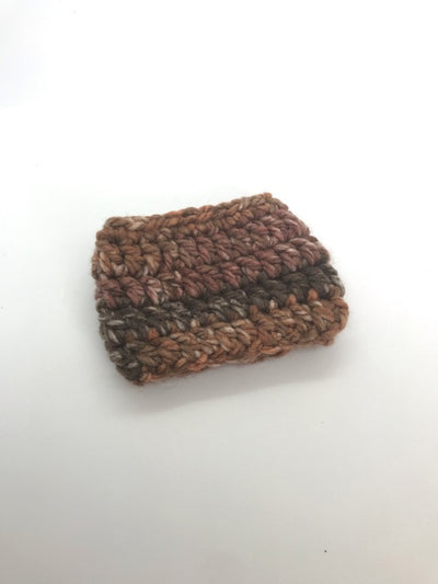 "Handmade Crocheted Brown Coffee Sleeve.  Brown Coffee Cozy.  Different shades of brown to resemble ""coffee"" colors.  Take this cozy with you to replace the cardboard holders.  Re-useable and decorative."