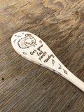 Wooden Cooking Spoon: Funny Thanksgiving Turkey with Autumn Leaves
